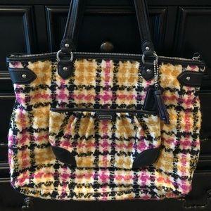 Coach pink/mustard plaid tweed tote handbag